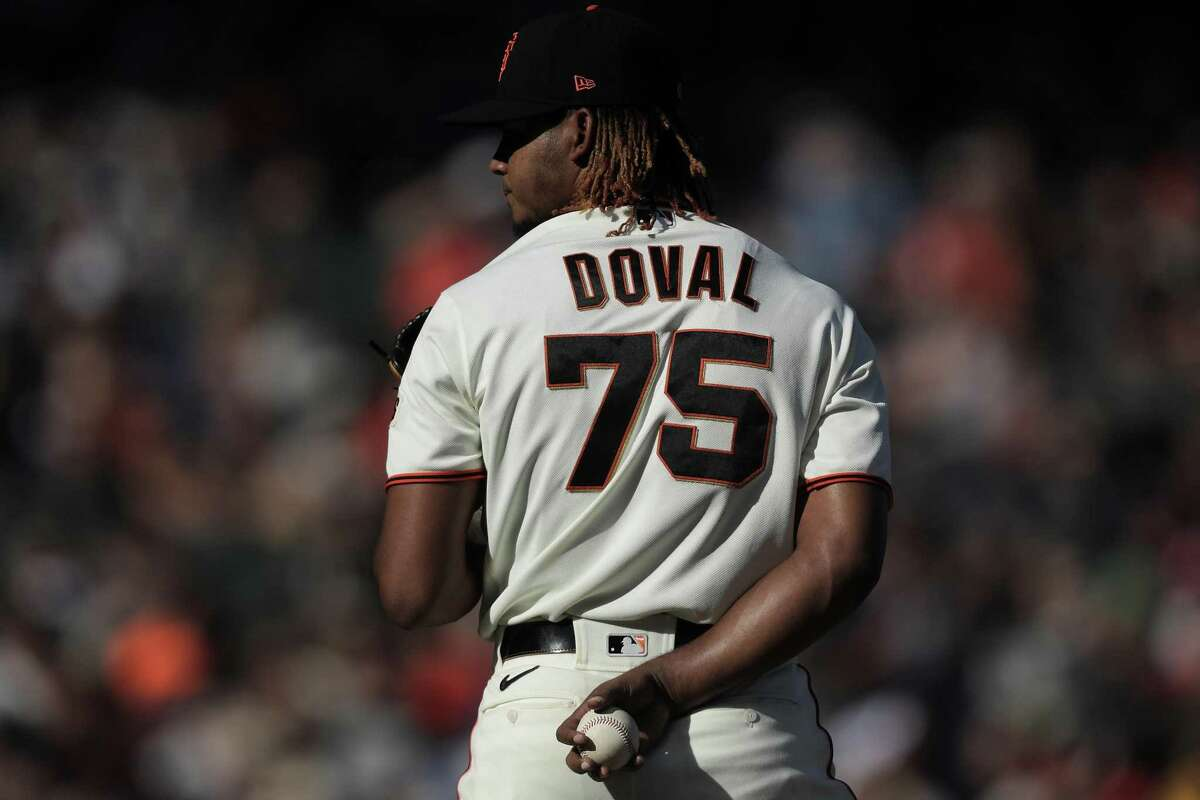 Camilo Doval (75) prepares to pitch in the ninth inning as the San Francisco Giants played the San Diego Padres at Oracle Park in San Francisco, Calif., on Saturday, October 2, 2021.