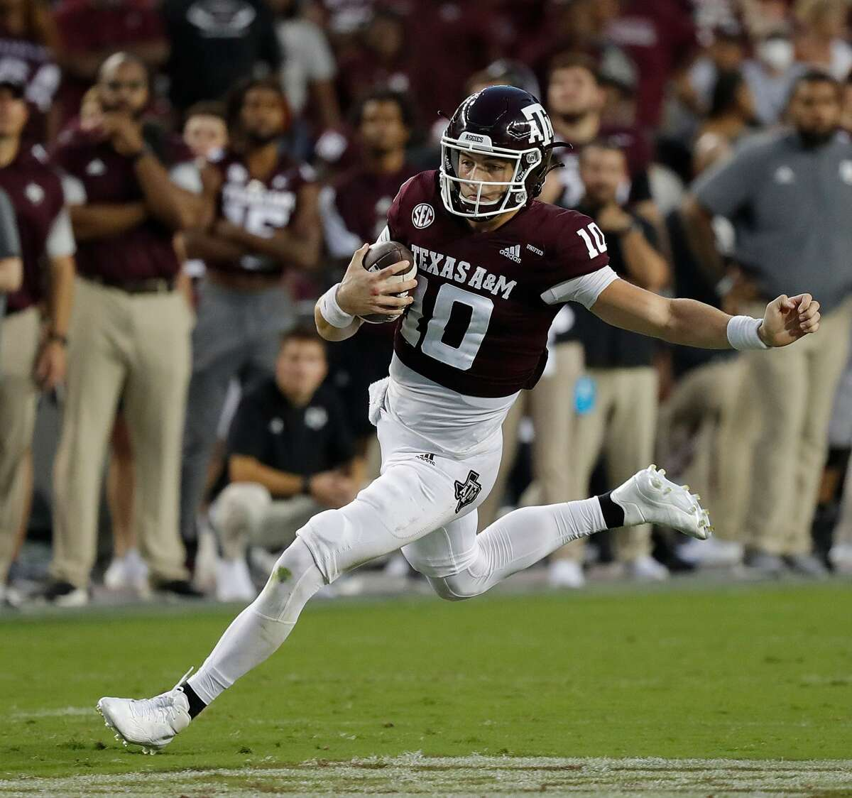 COLLEGE STATION, TEXAS - OCTOBER 02: Zach Calzada #10 of the Texas A&M Aggies scrambles out of the pocket in the second quarter against the Mississippi State Bulldogs at Kyle Field on October 02, 2021 in College Station, Texas. (Photo by Bob Levey/Getty Images)