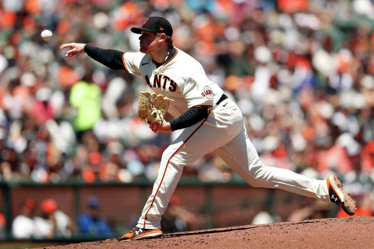 San Francisco Giants' Logan Webb pitches in 4th inning against Houston Astros during MLB game at Oracle Park in San Francisco, Calif., on Sunday, August 1, 2021.
