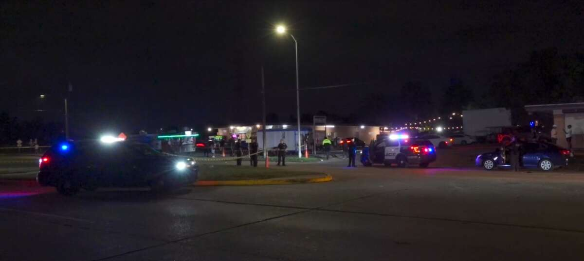 Houston police investigate a fatal shooting Oct. 3, 2021, at a party in the 4500 block of West Orem Drive.