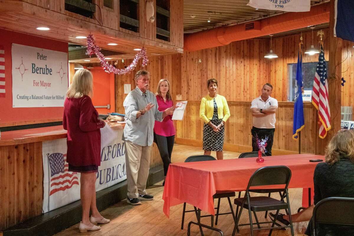 Republican Board of Education candidates speak to constituents during a forum.