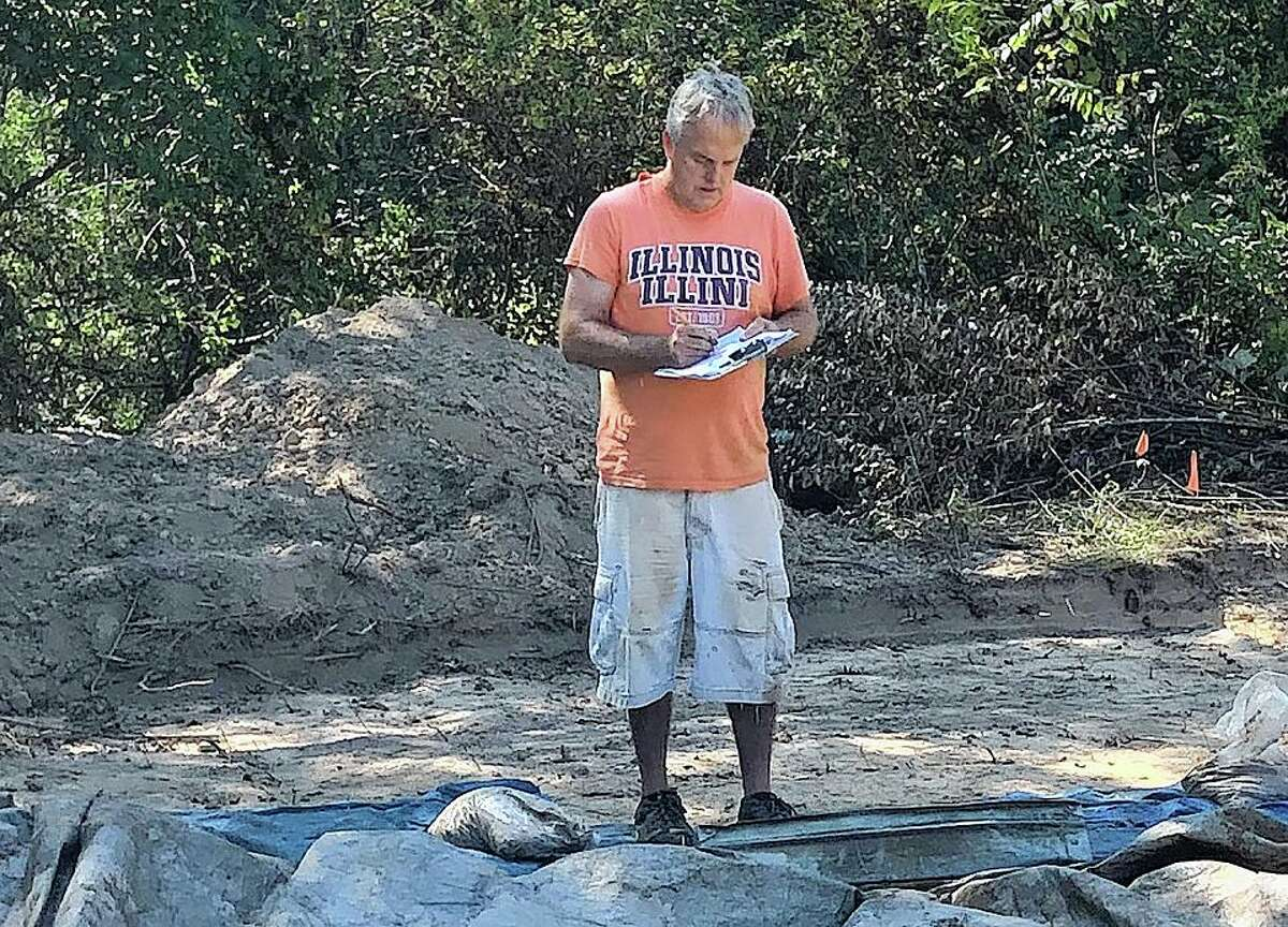 David Nolan does archaeology work on the Macomb Bypass project.