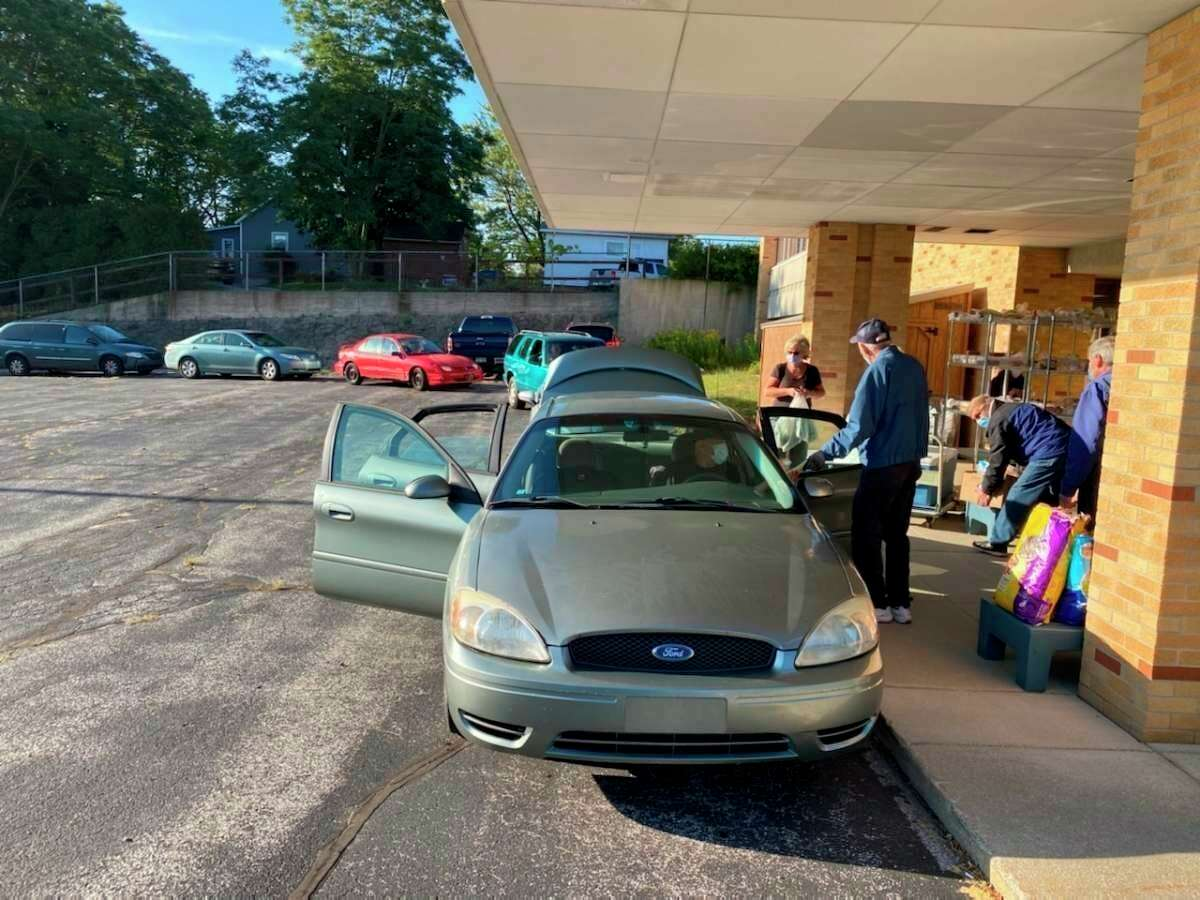 The Matthew 25:35 Food Pantry's offerings were bolstered by donations from West Shore Bank and a local parishioner. (File photo)
