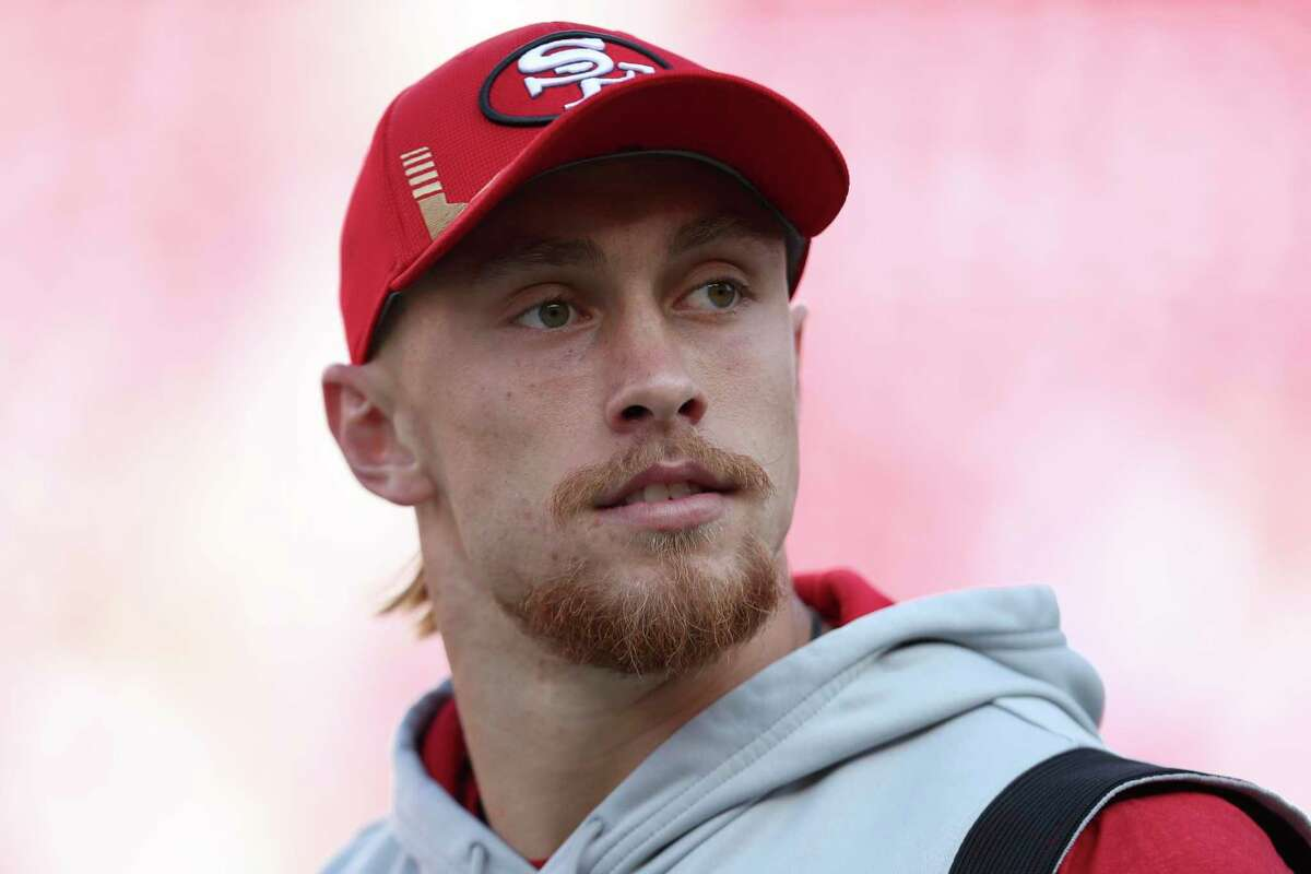 San Francisco 49ers tight end George Kittle before an NFL football game against the Green Bay Packers in Santa Clara, Calif., Sunday, Sept. 26, 2021. (AP Photo/Jed Jacobsohn)