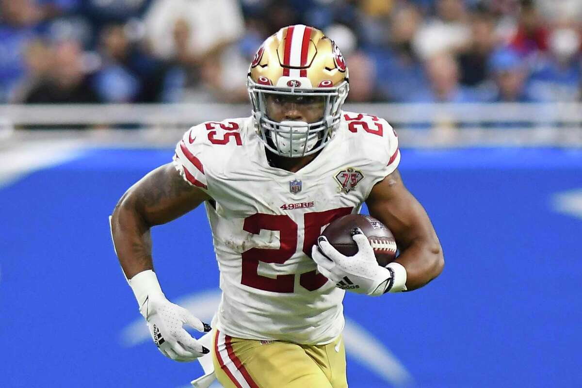 San Francisco 49ers running back Elijah Mitchell runs the ball against the Detroit Lions in the second half of an NFL football game in Detroit, Sunday, Sept. 12, 2021. (AP Photo/Lon Horwedel)