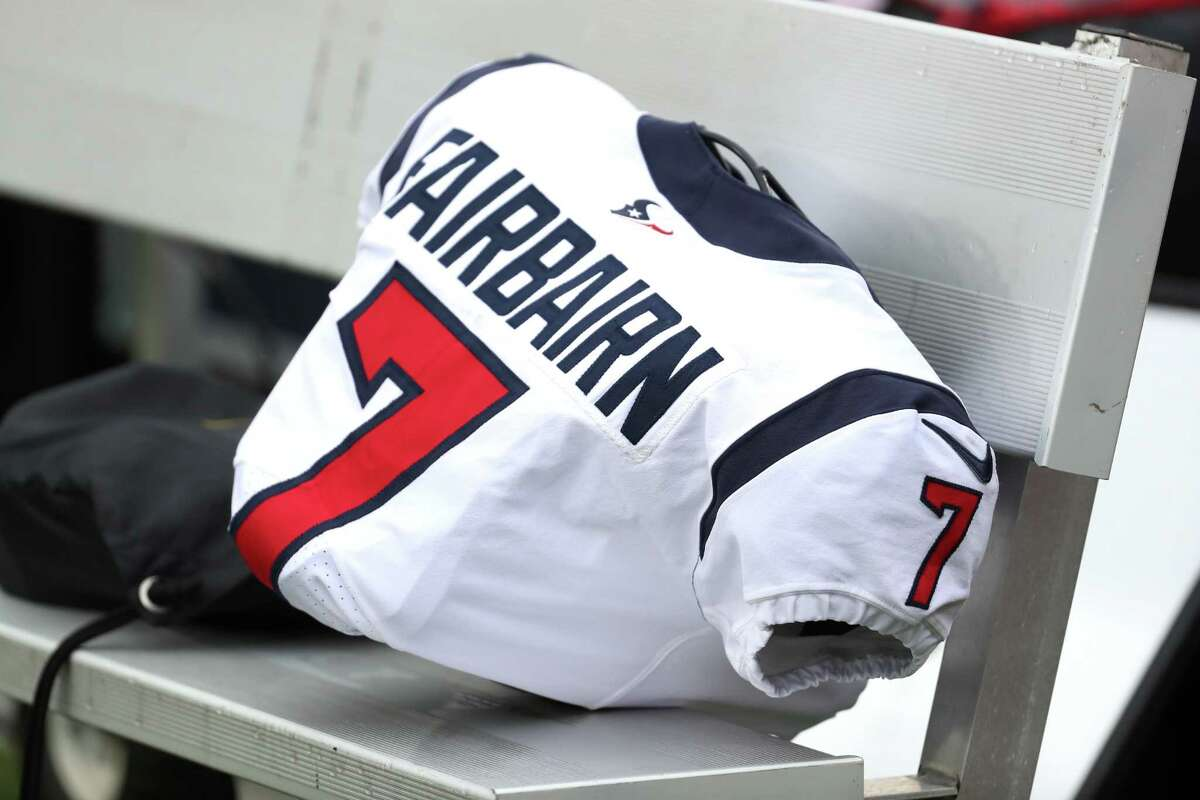 Houston Texans place kicker Ka'imi Fairbairn's shoulder pads and jersey sit on the bench before an NFL football game against the Buffalo Bills Sunday, Oct. 3, 2021, in Orchard Park, N.Y.. Fairbairn returns to the active roster Sunday after being out with an injury for the first three weeks of the season.