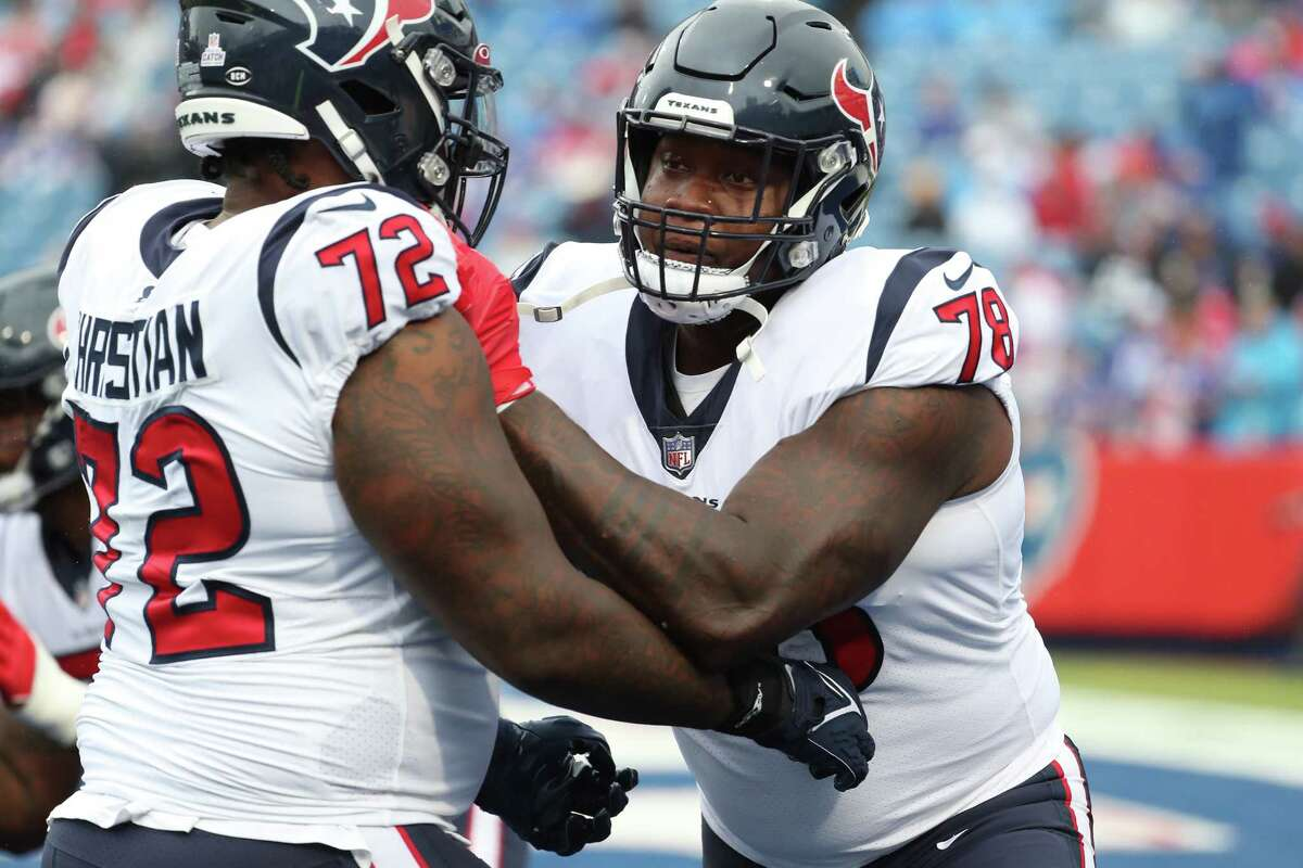 Laremy Tunsil (right) is out for at least four weeks, meaning Geron Christian Sr. (72) must start in place of the Texans' best offensive lineman.