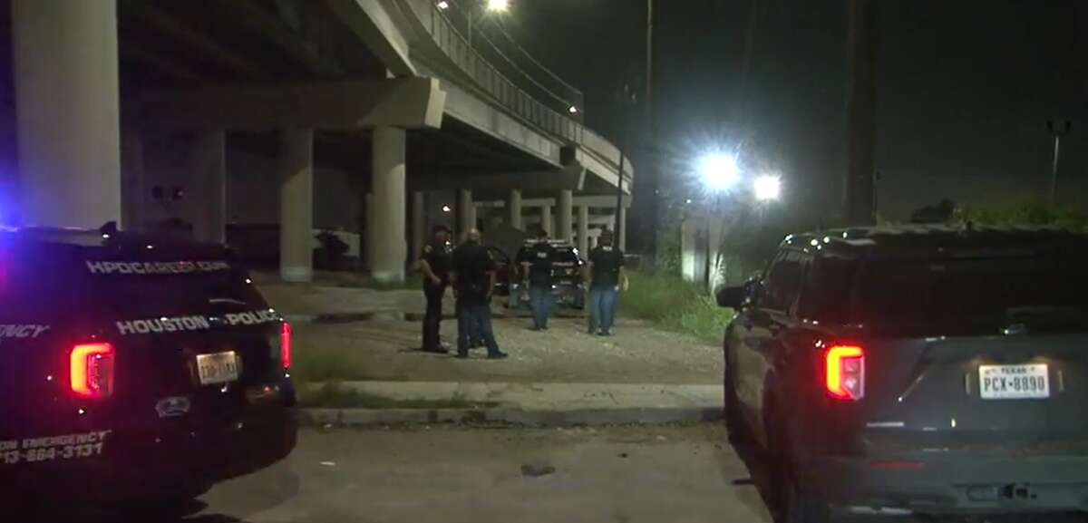 Houston police investigate the scene where a man was fatally struck by a train Oct. 2, 2021, in Fifth Ward.