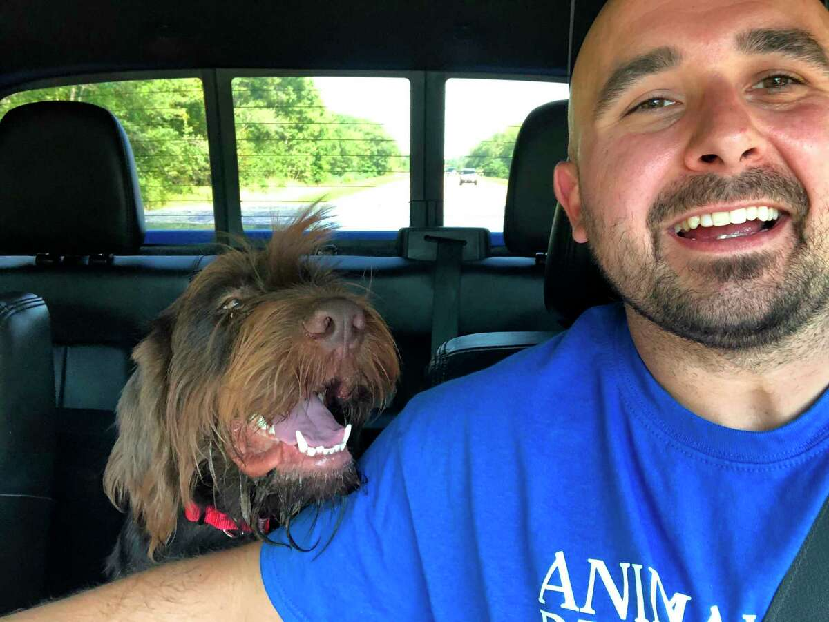 Steve Bokor and his newly adopted dog Huck on their way home from the ARC of Mecosta County. (Courtesy/Cate Arroe)