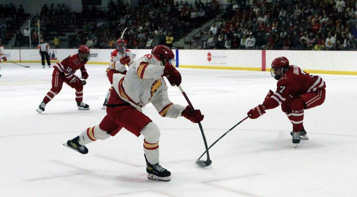 The Ferris State hockey team fell to the RedHawks of Miami University to open the 2021-22 season on Saturday night. (Pioneer photo/Joe Judd)