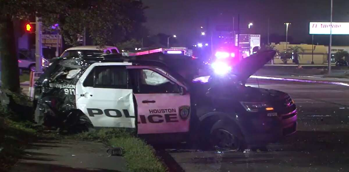 A wrecked Houston police vehicle that was hit Oct. 3, 2021, in Alief.
