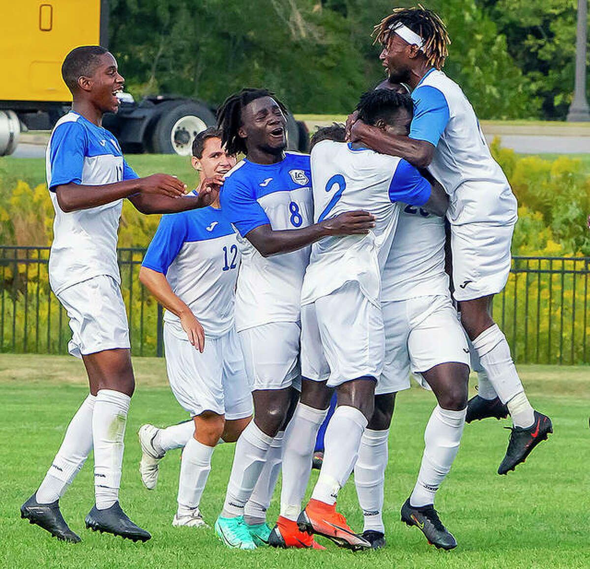 The Lewis and Clark Community college men's soccer team defeated Illinois Central College in overtime Saturday on a goal by Jahiri Lawrence in the 97th minute of play, assuring LCCC of home-field advantage in the postseason Region 24 Tournament.