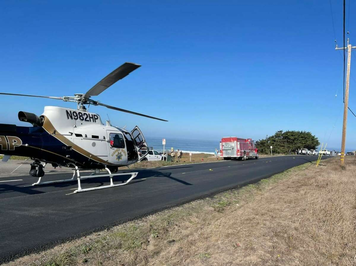 A California Highway Patrol helicopter transported a man bitten by a shark near Bodega Bay to Santa Rosa Memorial hospital on Sunday.