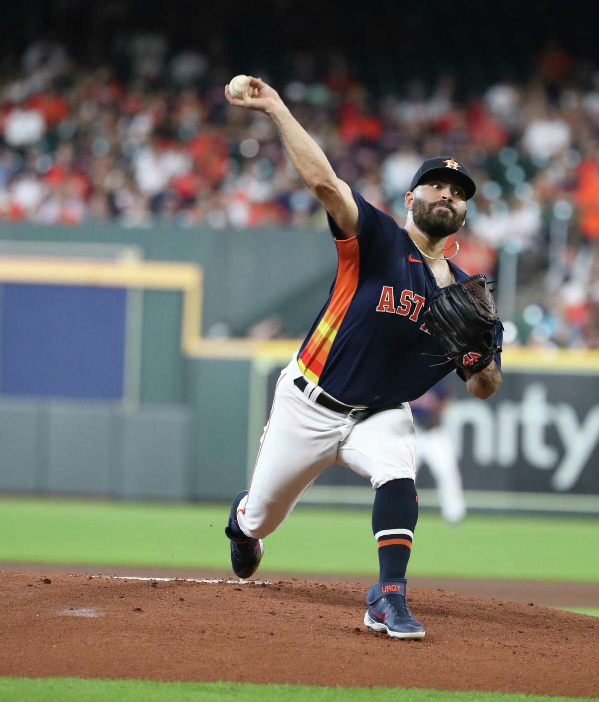 Houston Astros starting pitcher Jose Urquidy (65) pitches to Oakland Athletics Tony Kemp during the first inning of an MLB baseball game at Minute Maid Park, Sunday, October 3, 2021, in Houston.
