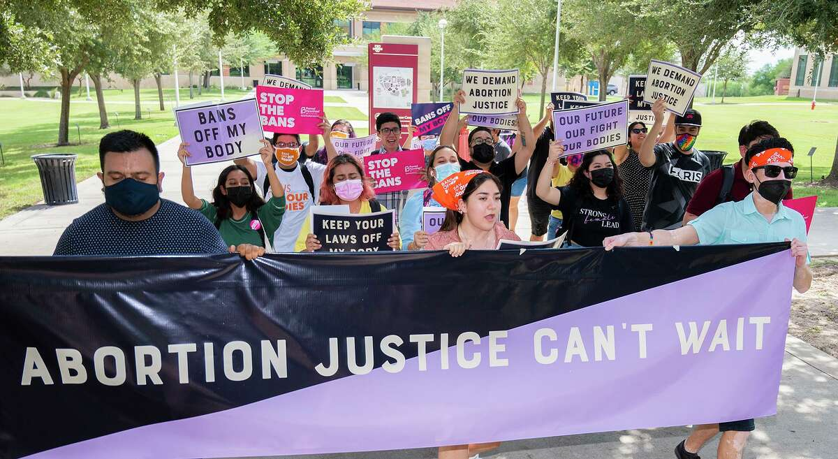 TAMIU students gather at TAMIU to voice their disapproval for Texas's restrictions on abortion, Friday, Oct. 1, 2021 during a rally for reproductive justice.