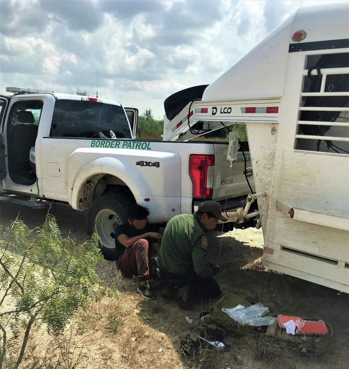 Agents in the Horse Patrol Unit provided first aid to a lost individual near Hebbronville recently.