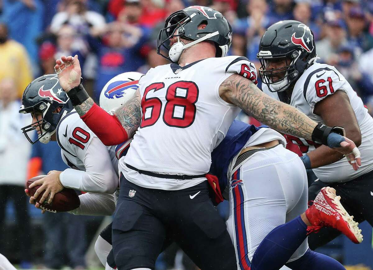 It was a Sunday to forget for Justin Britt (68), Davis Mills (10) and the rest of the Texans against the Bills.