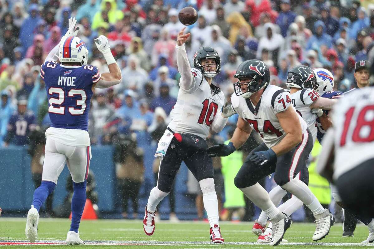 Houston Texans quarterback Davis Mills (10) throws a pass against the Buffalo Bills during the first half of an NFL football game Sunday, Oct. 3, 2021, in Orchard Park, N.Y..