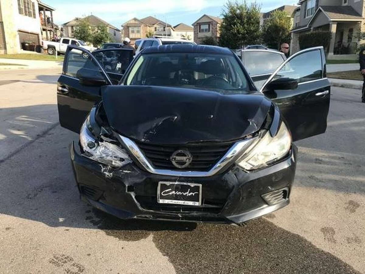 The driver of this black Nissan is suspected of intentionally ramming a Bexar County Sheriff's deputy Sunday, Oct. 3, 2021.