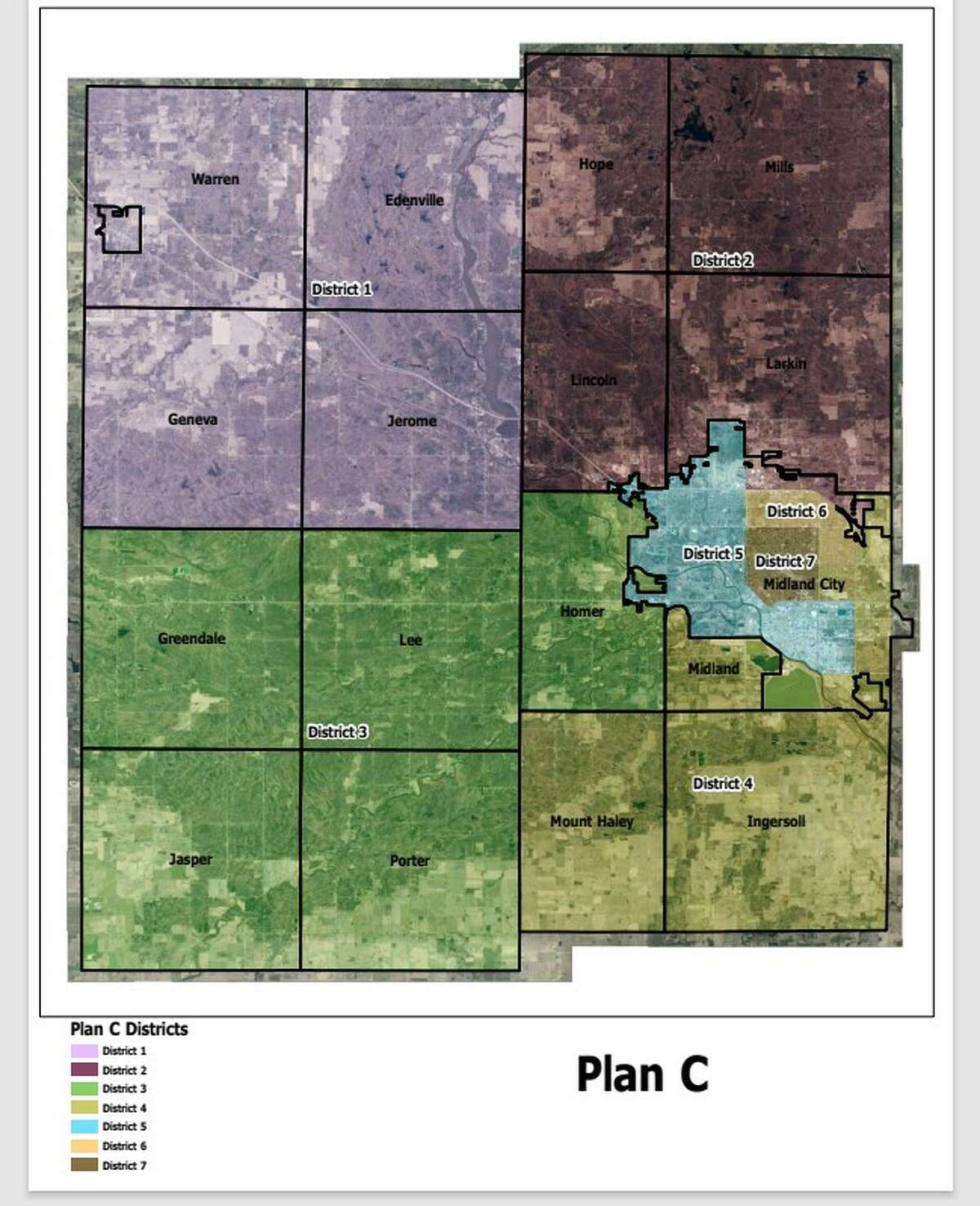 This apportionment proposal for Midland County's seven commissioner districts was presented at the Apportionment Committee's Sept. 15 meeting. The committee is scheduled to vote Oct. 6 between this proposal and one other proposal.