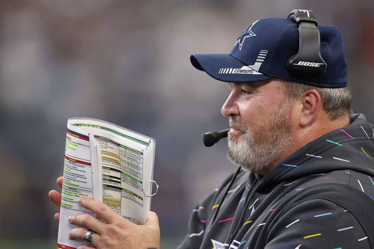 ARLINGTON, TEXAS - OCTOBER 03: Head coach Mike McCarthy of the Dallas Cowboys looks on during the second half against the Carolina Panthers at AT&T Stadium on October 03, 2021 in Arlington, Texas. (Photo by Tom Pennington/Getty Images)
