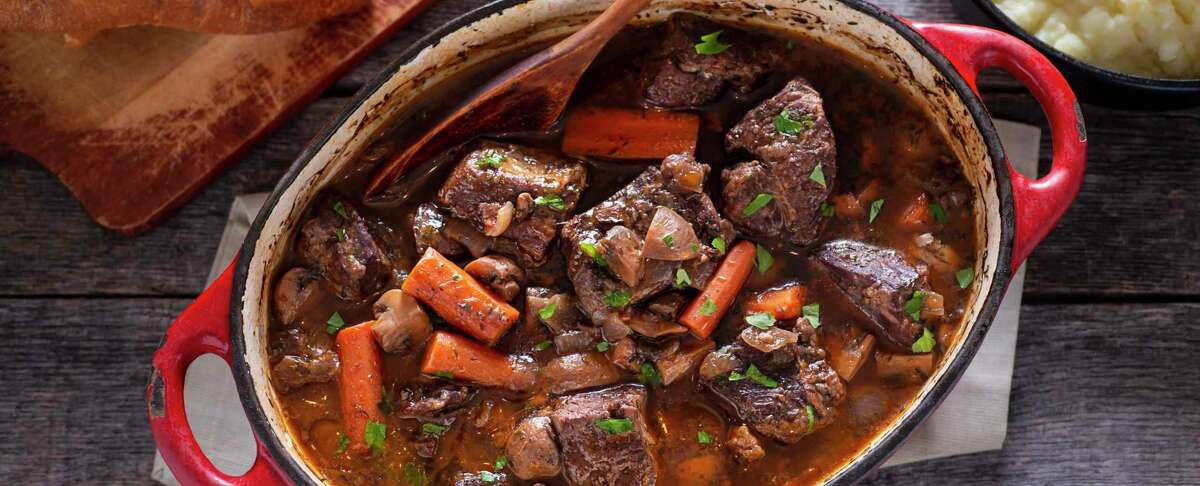 Beef bourguignon is best when made with chuck roast, the point cut of a brisket or bone-in short ribs.
