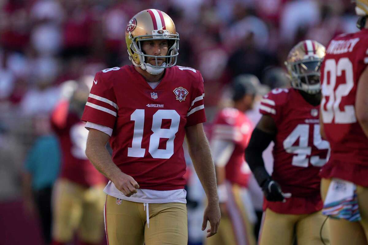 San Francisco 49ers' Mitch Wishnowsky during the second half of an NFL football game against the Seattle Seahawks in Santa Clara, Calif., Sunday, Oct. 3, 2021. (AP Photo/Tony Avelar)