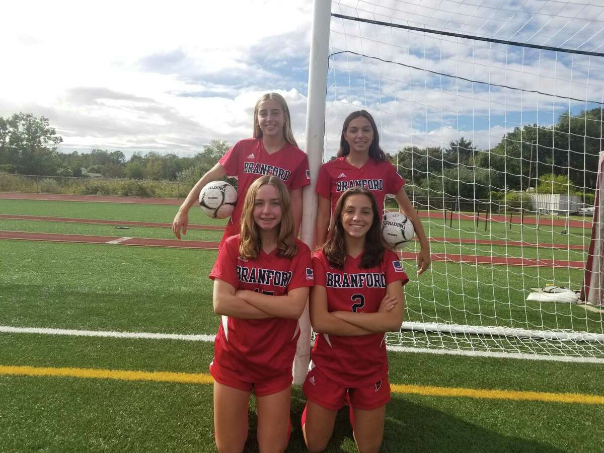 Pictured clockwise, from top left: Kendall Infantino, Ava Ferrie, Tess Ferrie and Bryce Infantino have helped lead the Branford girls soccer team this season.