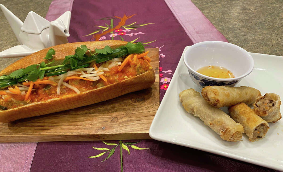 """Banh Mi 47 in Albany is one of the first restaurants in the country to carry Impossible Foods' plant-based """"pork"""" product. It is available as a sandwich with Impossible Pork-based meatballs, left, and, later this week, in spring rolls."""