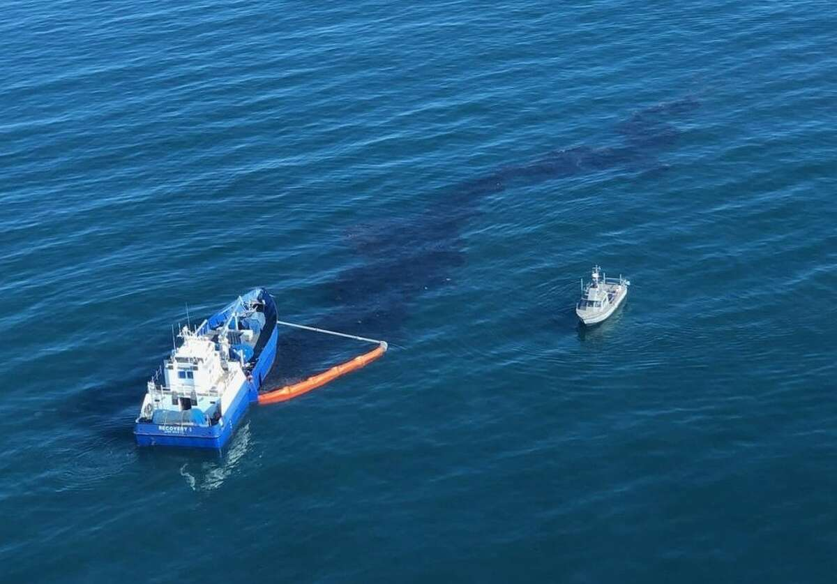 Officials from Houston-based Amplify Energy, the Coast Guard and California are responding to a major oil spill off the coast of Southern California.
