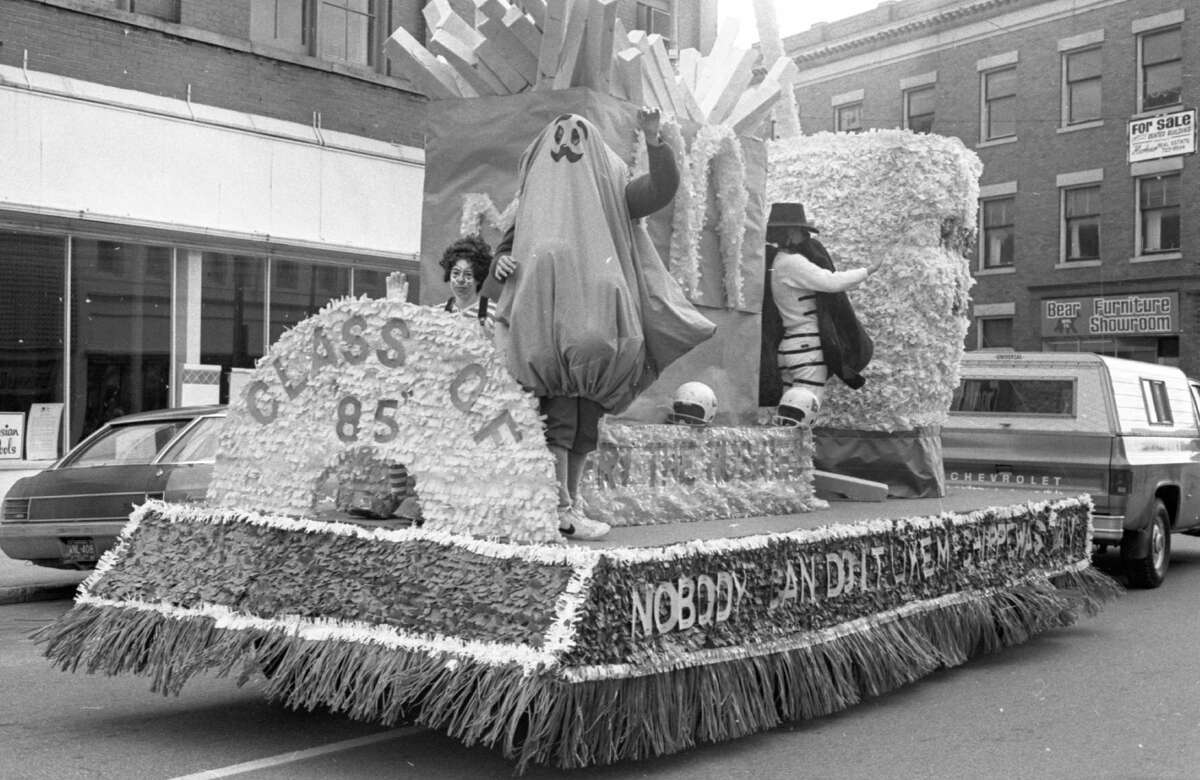 Manistee High School's freshmen class came out the winners in the float competition with this imaginative float, pictured as it cruised down River Street in last Friday's homecoming parade. The class of 1985, along with the sophomore class, tied for first place in the overall spirit week activities competition. The photo was published in the News Advocate on Oct. 5, 1981. (Manistee County Historical Museum photo)