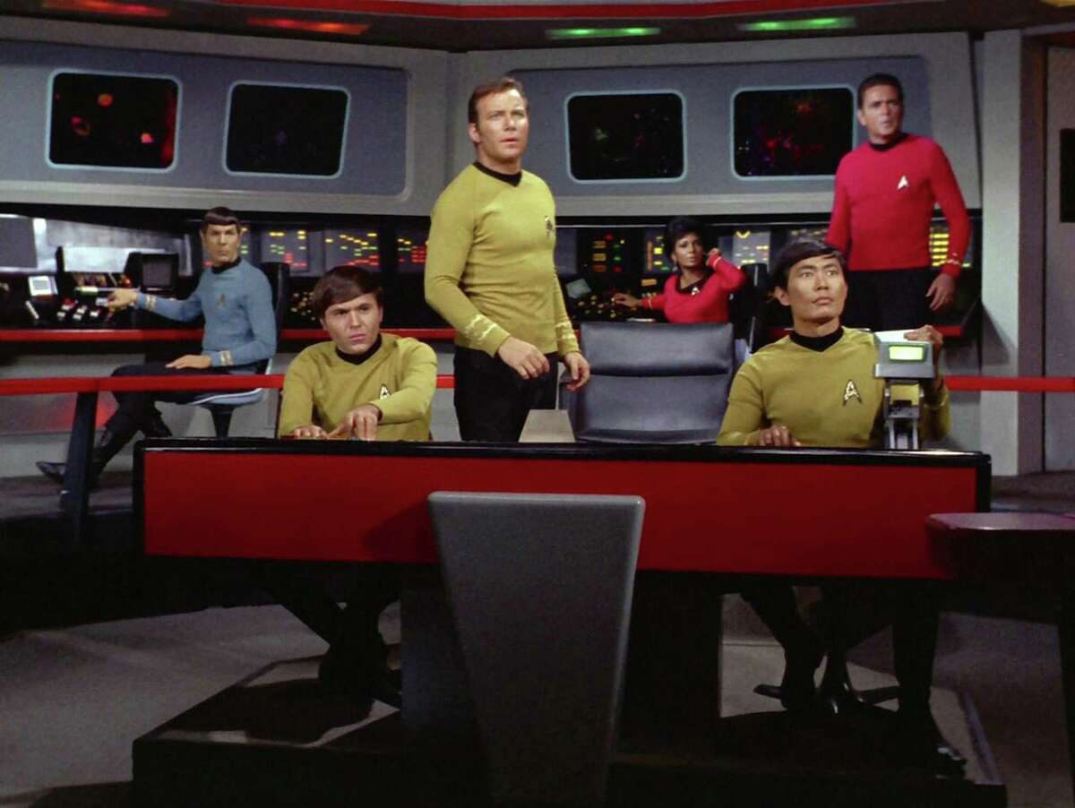 "From left, Leonard Nimoy as Mr. Spock, Walter Koenig as Pavel Chekov, William Shatner as Captain James T. Kirk, Nichelle Nichols as Uhura, George Takei as Hikaru Sulu and James Doohan as Montgomery ""Scotty"" Scott on the bridge of the Starship Enterprise in 1968."