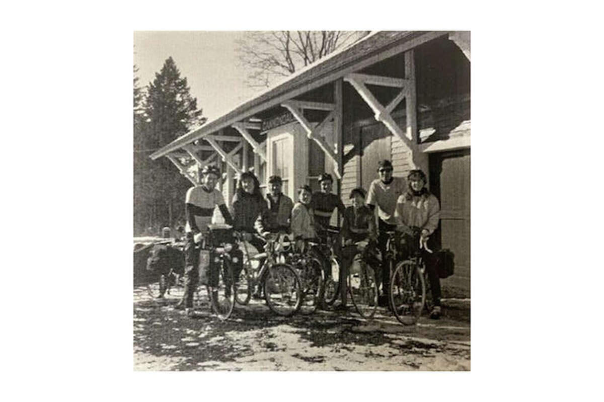 """Cannondale staff in the mid-1980s in a photo from the book """"Cannondale, handmade in the USA."""""""