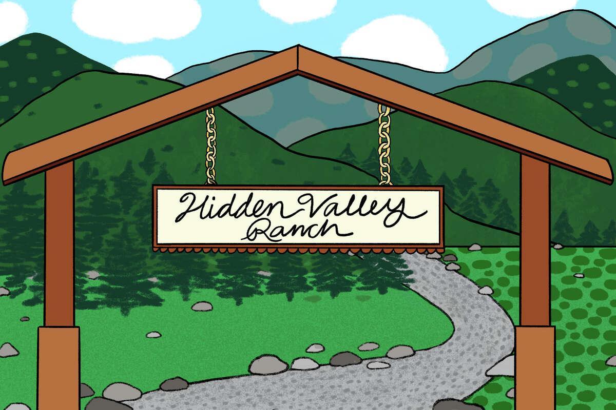 An illustration of the original Hidden Valley Ranch in Santa Barbara, California.