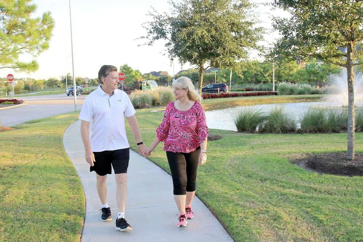 Breast cancer survivor Rhonda Kirchman and her husband Bill enjoy regular evening walks.