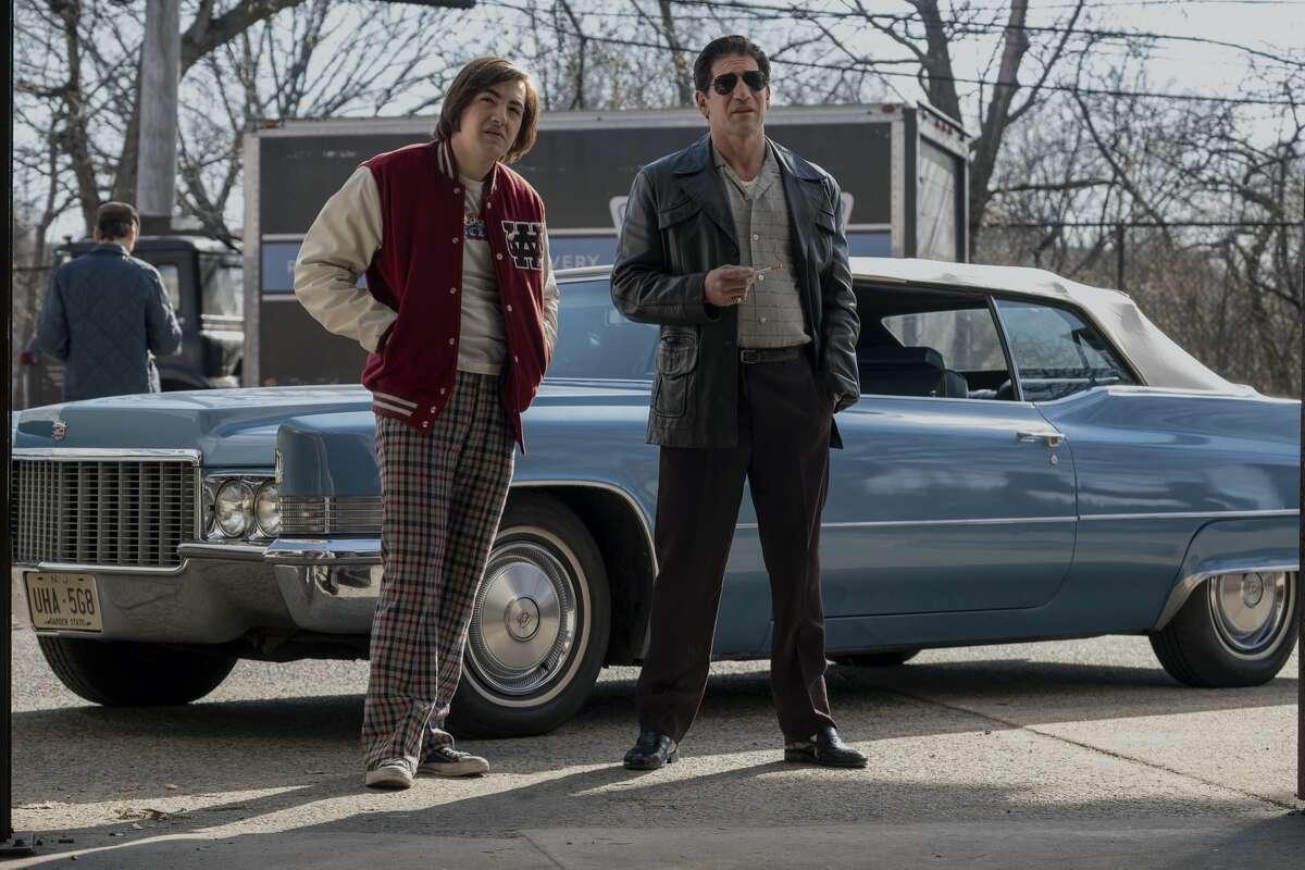 """Michael Gandolfini as a teenage Tony Soprano and Jon Bernthal as Johnny Soprano in """"The Many Saints of Newark."""""""