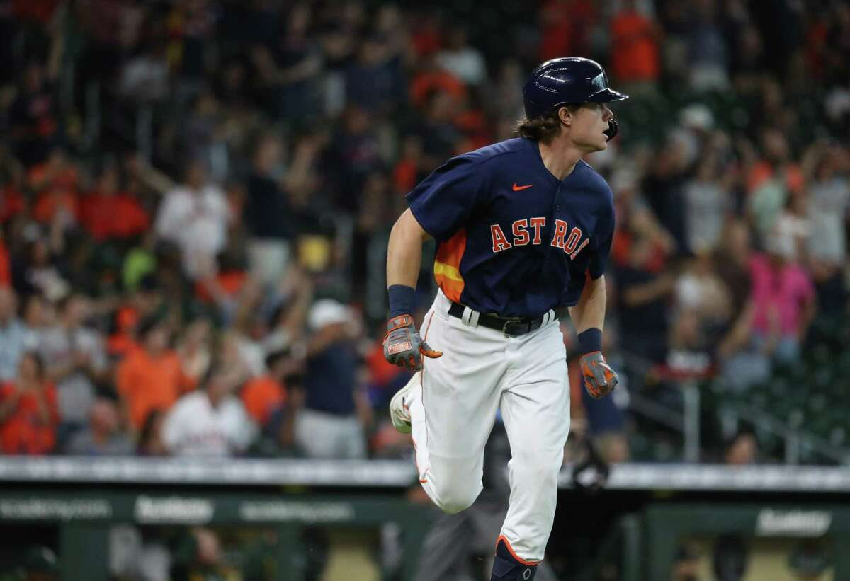 Houston Astros Jake Meyers (6) reacts after his home run off of Oakland Athletics starting pitcher Cole Irvin during the third inning of an MLB baseball game at Minute Maid Park, Sunday, October 3, 2021, in Houston.