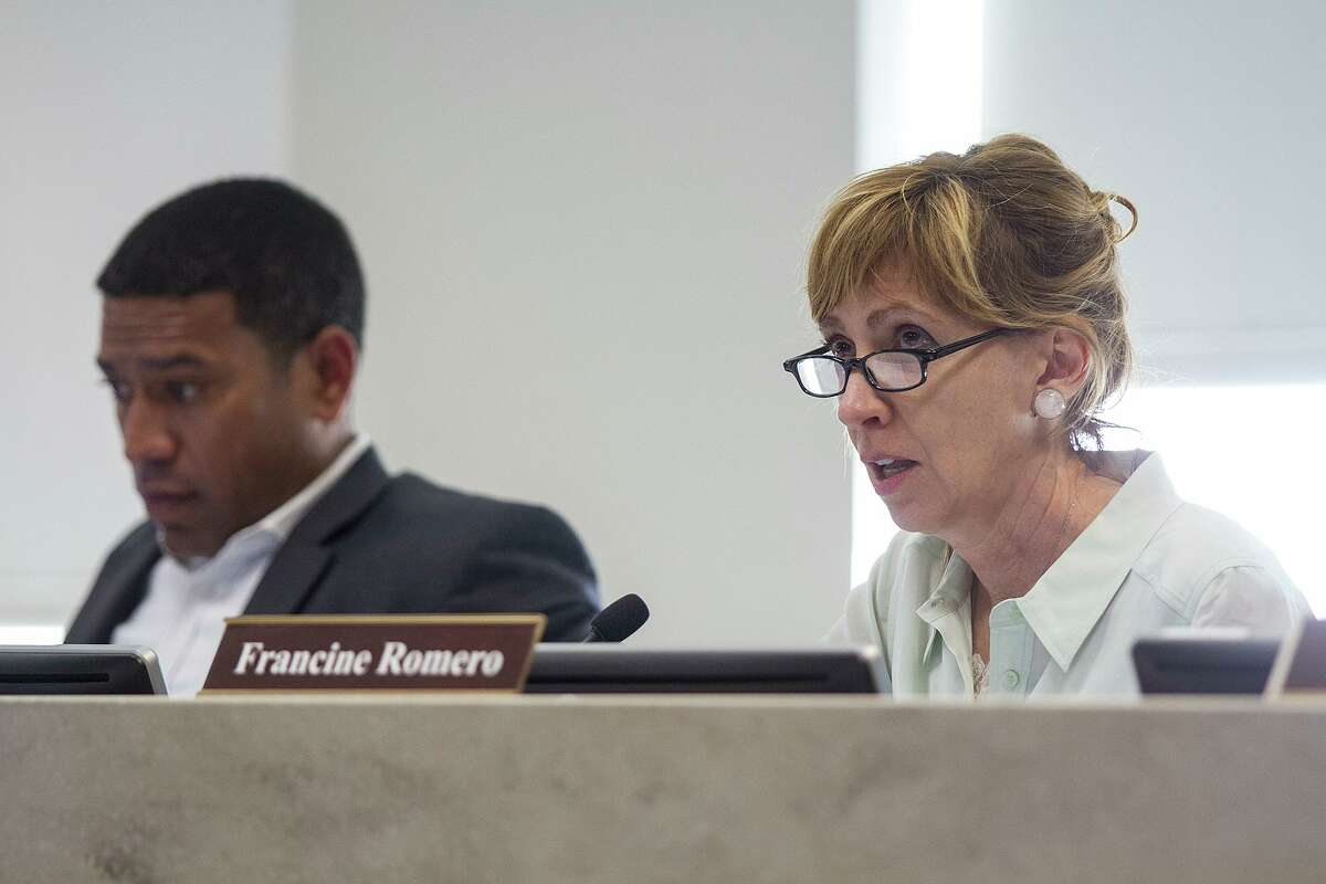 (Left to right) William Shaw, zoning commissioner for District 2 and chairman and Francine Romero, District 8 zoning commissioner at the zoning commission meeting, Tuesday, March 15, 2016, at the Alamo Development and Business Services Center.