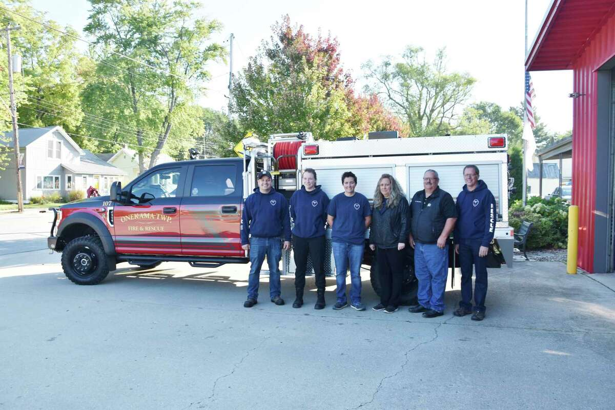 Some of the volunteer firefighters from theOnekama Township Fire Rescue Departmentarepicturedin front of the department's new brush fire truck that arrived at the department on Friday. Pictured (from left) are Joel Faber, Megan Faber, Kaitlin Kubiskey, Shelli Johnson, Rob Johnson and Wayne Faber. (Arielle Breen/News Advocate)