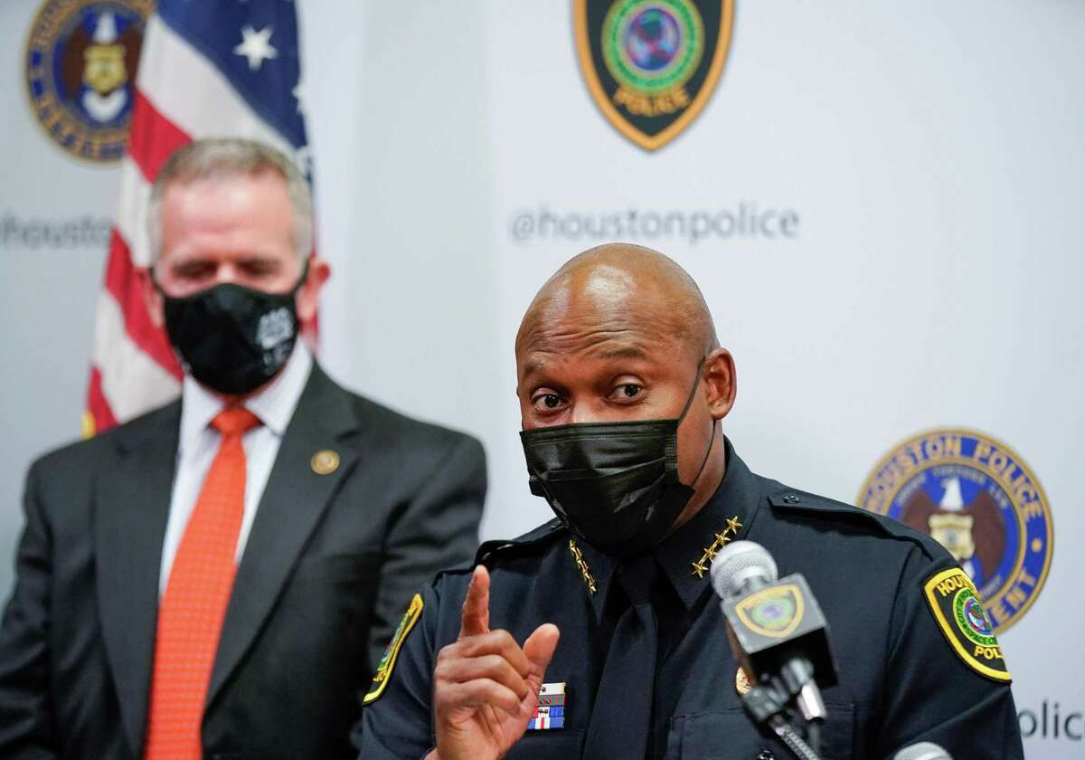 Houston Police chief Troy Finner discussed an ongoing investigation following the arrests of numerous robbery suspects during a press conference in HPD Headquarters on Monday, Oct. 4, 2021, in Houston.