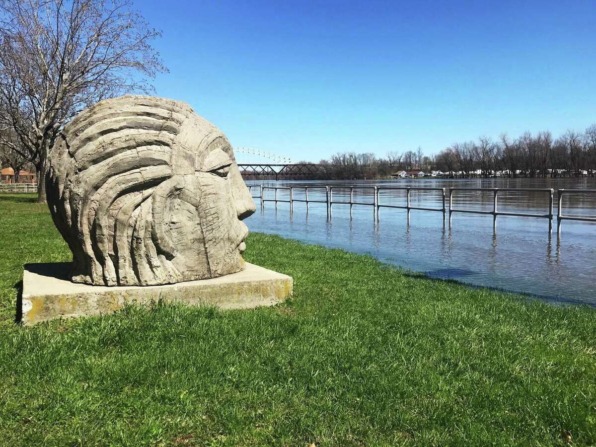 A Native American Wangunk statue overlooks the Connecticut River at Harbor Park in Middletown.