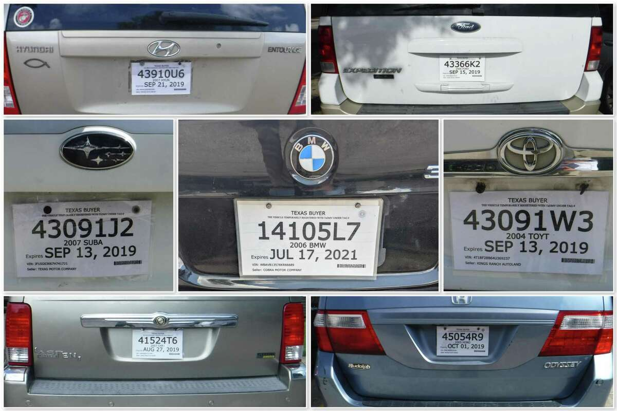 A composite of fake paper license plate tags taken around Houston-area apartment complexes over the past two years.