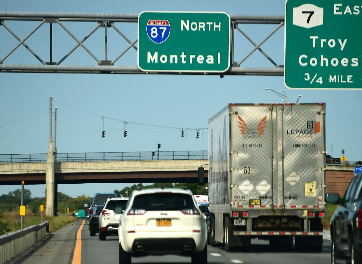 Traffic on I-87 in Latham headed north towards Canada. Chris Churchill asks - why are Canandians still banned from the U.S. in October 2021? (Lori Van Buren/Times Union)