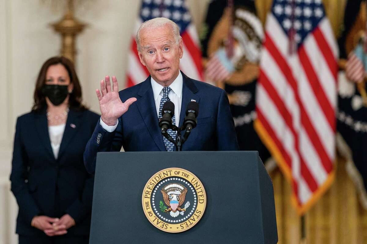 President Joe Biden delivers remarks on the Senate approving H.R. 3684 Infrastructure Investment and Jobs Act, in the East Room of the White House on Tuesday, Aug. 10, 2021, in Washington, D.C. (Kent Nishimura/Los Angeles Times/TNS)