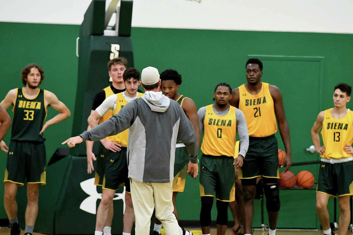 Siena College men's basketball coach Carmen Maciariello works with players during practice on Monday, Oct. 4, 2021, at UHY Center on the Siena campus in Loudonville, N.Y.