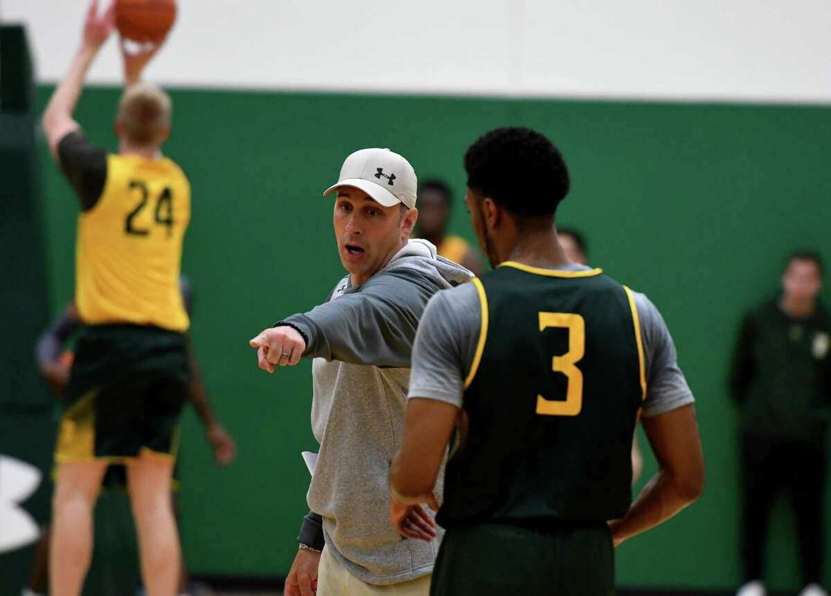 Siena College men's basketball head coach Carmen Maciariello works with players during practice on Monday, Oct. 4, 2021, at UHY Center on the Siena campus in Loudonville, N.Y.