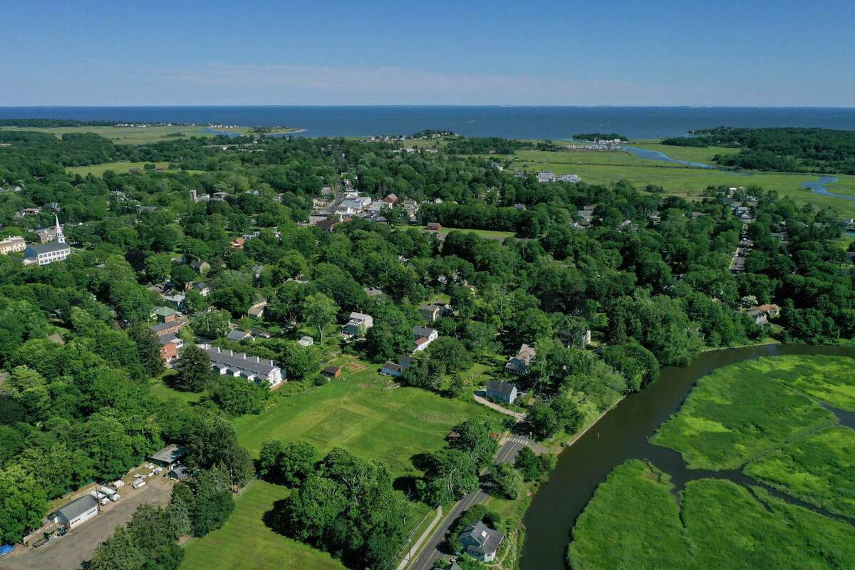 An aerial view of the town of Guilford, where officials are nearing the end of a two-year process to revise the town's zoning codes.