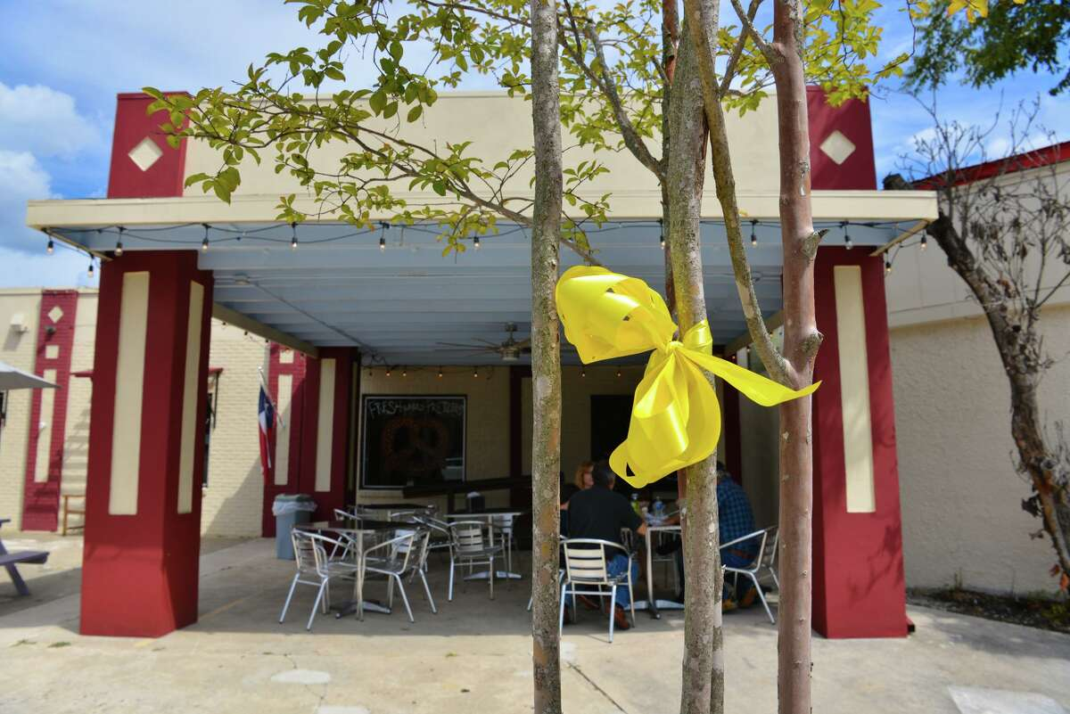 Yellow ribbons are displayed prominently on Main Street in Boerne to remember the 13 U.S. service members who were killed at the Kabul airport in late August and to keep up hope for the Americans who are still there.