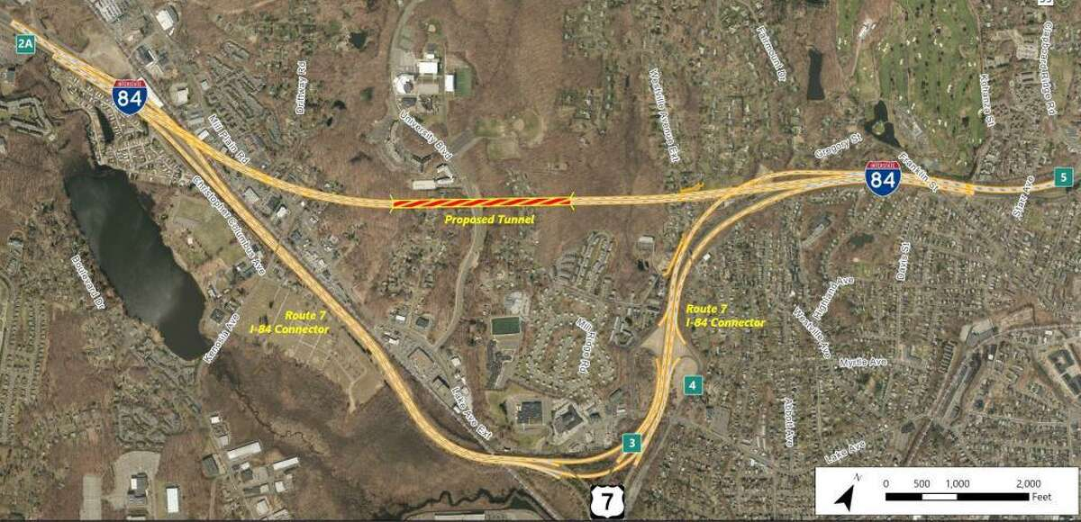 A proposed tunnel to straighten Interstate 84 between exits 2 and 4 on Danbury's west side, among the options being considered by the state DOT.