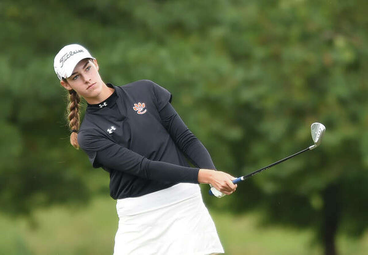 Edwardsville's Nicole Johnson watches her shot sail towards the green on No. 3 during the Class 2A Washington Sectional at Quail Meadows Golf Course in Washington.